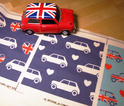 Mini Cooper Hearts - Blue - Large