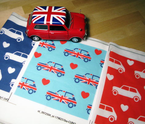 Mini Cooper Hearts - Union Jack Car - Large