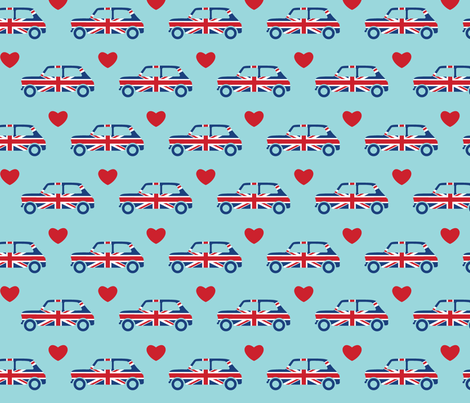 Mini Cooper Hearts - Union Jack Car - Large fabric by cpilgrim on Spoonflower - custom fabric