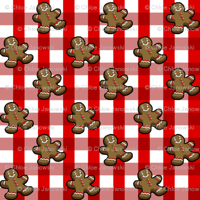 Christmas Gingerbread Red & White Gingham