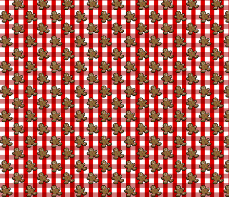 Christmas Gingerbread Red & White Gingham fabric by chloejanowski on Spoonflower - custom fabric