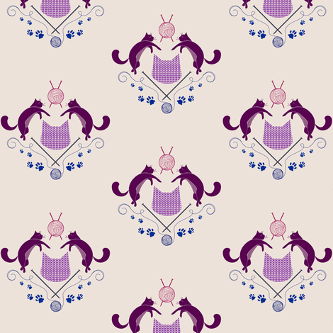 Cats Knitting - Color fabric by knatalie_meredith on Spoonflower - custom fabric