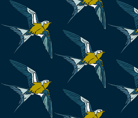Swift - Navy/Kiwi fabric by here_comes_kelly on Spoonflower - custom fabric
