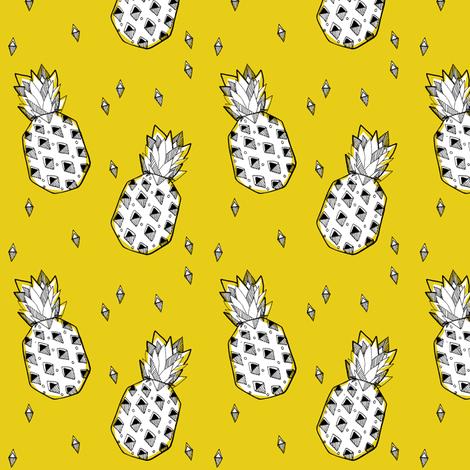 pineapple mustard - elvelyckan fabric by elvelyckan on Spoonflower - custom fabric