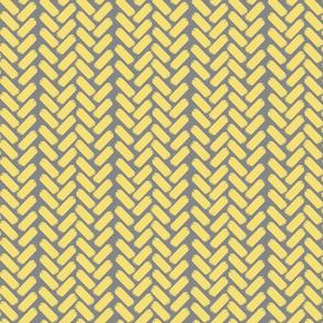 Painted herringbone_Grey/Yellow