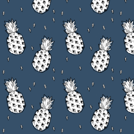 pineapple blue - elvelyckan fabric by elvelyckan on Spoonflower - custom fabric