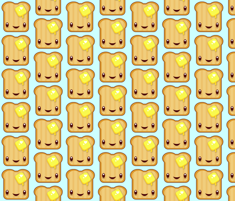 Buttered Kawaii toast fabric by melinda_wolf_designs on Spoonflower - custom fabric