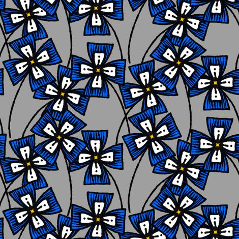 Boxy Clarkia Amoena - Blue fabric by siya on Spoonflower - custom fabric