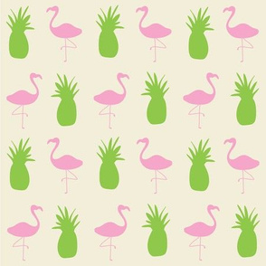 Flamingos and Pineapples - Green and Pink