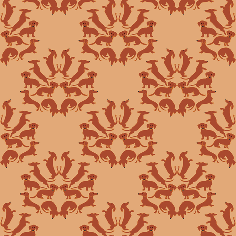Doxie Damask on tan fabric by eclectic_house on Spoonflower - custom fabric