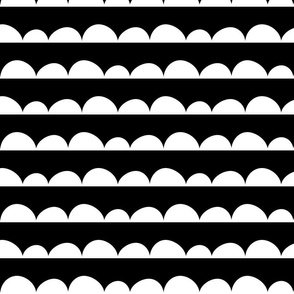 Scallops; white on black