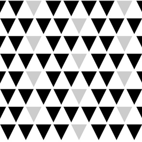 Triangles; black and grey on white