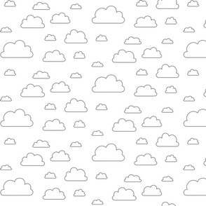 Clouds; black outlines on white