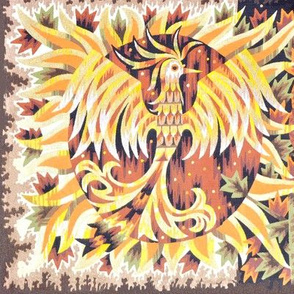 vintage retro tribal folk art northwest Aztec traditional phoenix fire autumn leaves owl day night yin yang duality contrast rebirth north west