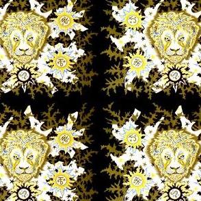 vintage tribal folk art abstract astrology leo lion stars signs symbols planets Jupiter Saturn