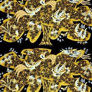 vintage retro kitsch folk art tribal abstract birds paradise peacocks butterfly butterflies trees