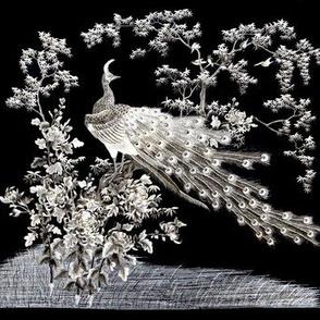 vintage retro kitsch albino white peacocks birds feathers flowers plants trees bushes tribal folk art abstract