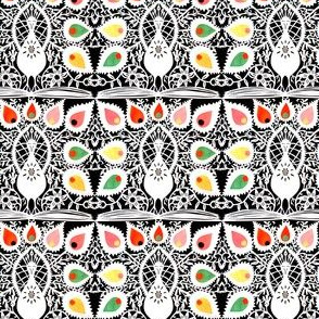 vintage retro kitsch albino white peacocks birds feathers colorful rainbow vines flowers books filigree tribal folk art abstract
