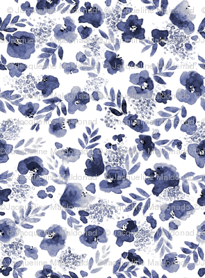 Floret Flower Print in Indigo Navy