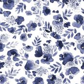 Floret Flower Print in Indigo Navy