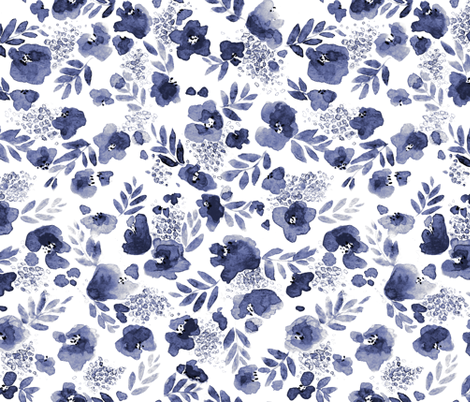 Floret Flower Print in Indigo Navy fabric by mjmstudio on Spoonflower - custom fabric