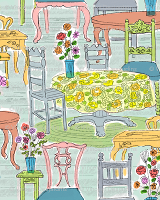 Watercolor Tables & Chairs