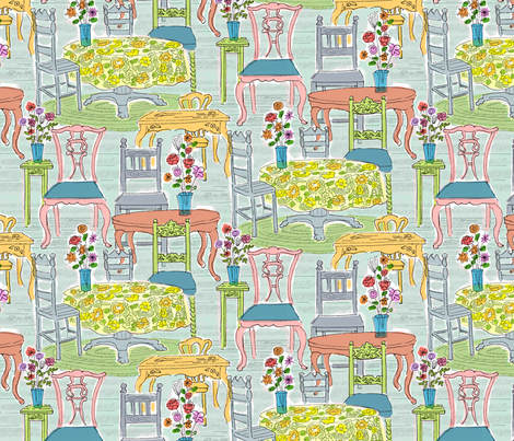 Watercolor Tables & Chairs fabric by vinpauld on Spoonflower - custom fabric