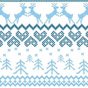 Blue Reindeer Christmas Fair Isle Larger