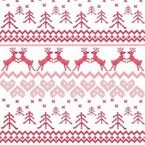 Red Reindeer Christmas Fair Isle Larger