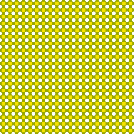 Tiny Squares and Circles   -Pease Green, Maize, and White fabric by fireflower on Spoonflower - custom fabric