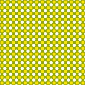 Tiny Squares and Circles   -Pease Green, Maize, and White