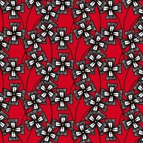 Boxy Clarkia Amoena - Gray on Red (Small)