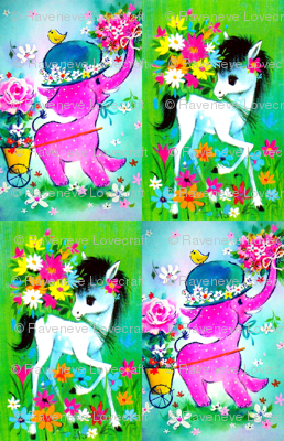 Vintage Retro Kitsch Whimsical Horses Ponies Pony Pink