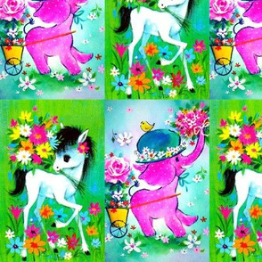 vintage retro kitsch whimsical horses ponies pony pink elephants roses daisies daisy flowers birds butterflies hats babies toddlers baby kids