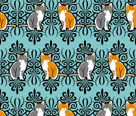 damaskcatfabric fabric by tictactogs on Spoonflower - custom fabric