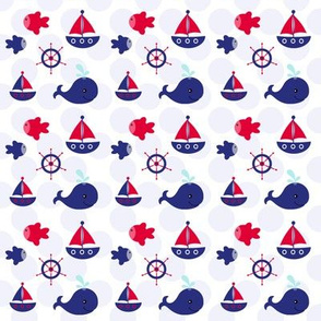 Boating Fun on Blue Dots
