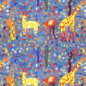 vintage retro colorful rainbow multi color forests trees flowers leaves animals giraffes ostriches emus peacocks deers stags parrots abstract