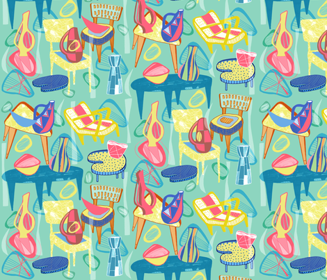 Atomic Lounge fabric by slumbermonkey on Spoonflower - custom fabric