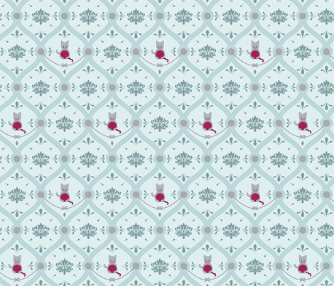 cat damask fabric by halinatran on Spoonflower - custom fabric