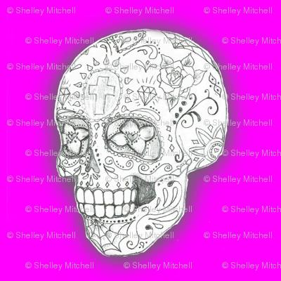 Sugar Skull sketch in Purple