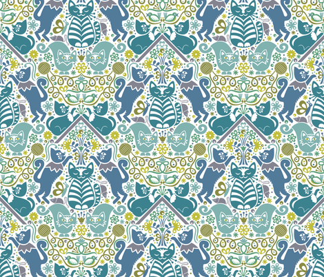 Flock of Frolicking Felines (blue) fabric by christinewitte on Spoonflower - custom fabric