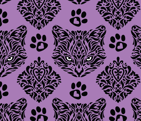Mystic Cat Damask fabric by mariafaithgarcia on Spoonflower - custom fabric