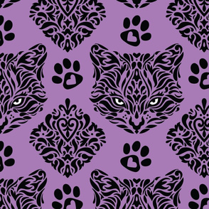 Mystic Cat Damask