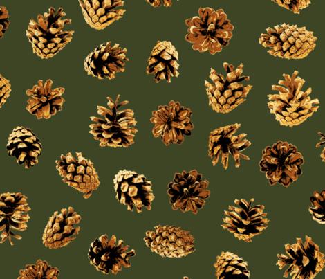 large pine cones on pine green fabric by weavingmajor on Spoonflower - custom fabric