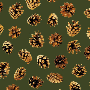 large pine cones on pine green