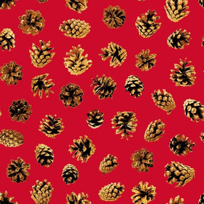 pine cones on Christmas red