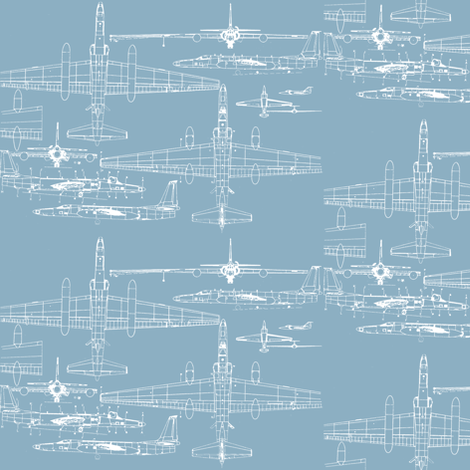 U-2 Schematic Line Drawing Blue fabric by rory_unraveled on Spoonflower - custom fabric