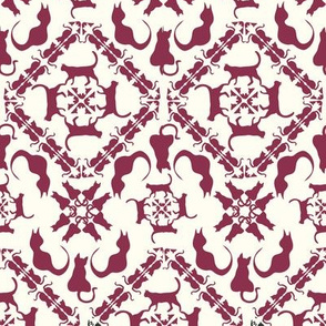 Cat & mouse game damask raspberry creme