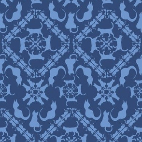 cat & mouse game damask blueberry sky