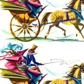 vintage retro kitsch Victorian couple man woman lady gentleman top hats bonnets horses carriages